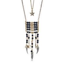 Bibi Bijoux Beaded Charm Fringe Necklace