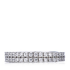 Diamonique 1.1ct tw Double Row Eternity Ring Sterling Silver