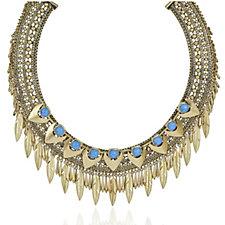 Danielle Nicole Antique Gold Tone Statement Leaf Necklace