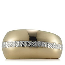 9ct Gold Bi Colour Diamond Cut Graduated Band Ring