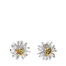 Azendi Birthday Flowers Chrysanthemum Earrings Sterling Silver