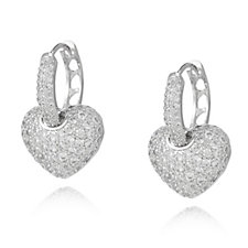 Frank Usher Crystal Heart Drop Earrings