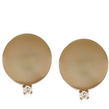 9-10mm Cultured Golden South Sea Pearl Stud Earrings 14ct Gold