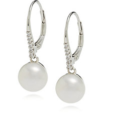 Diamonique 0.08ct tw Honora Pearl Leverback Earrings Sterling Silver