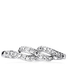 Platinum Plated Diamonique 0.2ct tw Wave Ring Sterling Silver