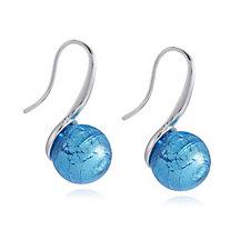Murano Glass Shepherdess Orb Earrings Sterling Silver