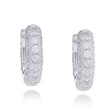 Diamonique 0.5ct tw Pave Huggie Earrings Sterling Silver