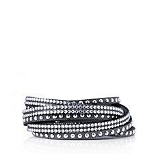 Loverocks Crystal Leather Wrap Bracelet