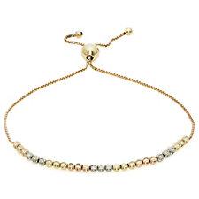 9ct Gold Diamond Cut Tri Colour Beads Friendship Bracelet