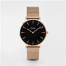 Cluse La Boheme Black Dial Minute Mesh Strap Watch