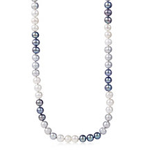 Honora 8-9mm Cultured Pearl Ombre 90cm Necklace Sterling Silver