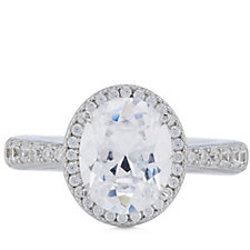 Diamonique 3.3ct tw Halo Oval Cut Solitaire Ring Sterling Silver
