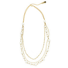 Butler & Wilson Triple Chain & Glass Bead 74cm Necklace