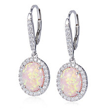 Diamonique 0.6ct tw Simulated Opal Earrings Sterling Silver