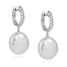 Honora 15-16mm Cultured Pearl Roped Detail Leverback Earrings Sterling Silver