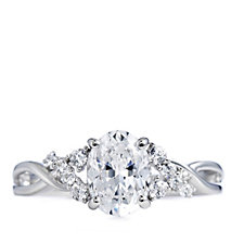 Diamonique 1.6ct tw Oval Cut Solitaire Ring Sterling Silver