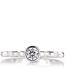 Diamonique 0.2ct tw Bezel Set Solitaire Stacking Ring Sterling Silver