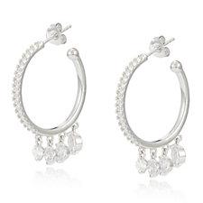 Diamonique 2.4ct tw 4 Stone Hoop Earrings Sterling Silver