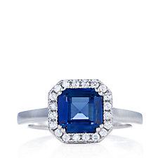 Diamonique 2ct tw Halo Square Ring Sterling Silver