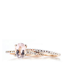 1ct Morganite Oval Ring Set Rose Gold Vermeil & Sterling Silver