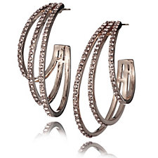 304296 - loveRocks Triple Glitter Hoop Earrings