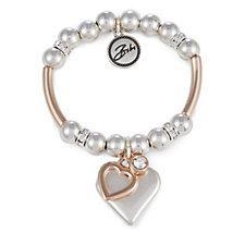 Bibi Bijoux Crystal Heart Charm Ball Bead Bracelet
