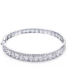 307296 - Diamonique 7.3ct tw Mixed Cut 19cm Bangle Sterling Silver