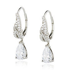 Diamonique 3ct tw Leverback Drop Earrings Sterling Silver