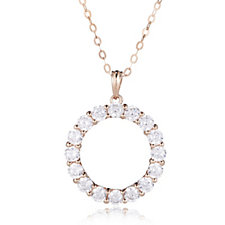 Diamonique 2.3ct tw Ultimate Glamour Circle Pendant & Chain Sterling Silver