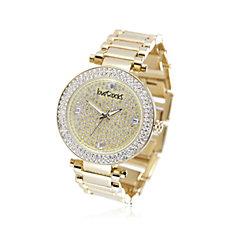 loveRocks Pave Crystal Bezel Metal Strap Watch