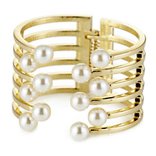 Nour Statement Simulated Pearl Hinged Bangle