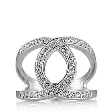 Aurora Swarovski Crystal Entwined Open Design Pave Set Ring