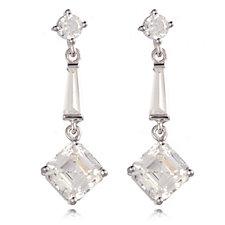 Diamonique 2.6ct tw Asscher Cut Drop Earrings Sterling Silver