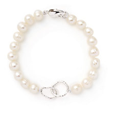 Honora 7-8mm Cultured Ringed Pearl Chain Link Bracelet Sterling Silver