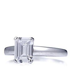 Diamonique 1.5ct tw Platinum Plated Ring Sterling Silver