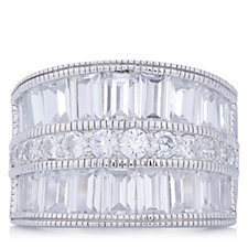 313997 - Diamonique 4.28ct tw Baguette Wide Band Ring Sterling Silver