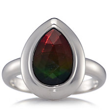 Canadian Ammolite Triplet Faceted Teardrop Ring Sterling Silver