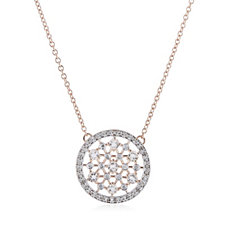 0.7ct Morganite with Diamonds Pendant & Chain Rose Gold Vermeil Sterling Silver