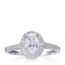 Platinum Plated Diamonique 0.8ct tw Oval Cut Ring Sterling Silver