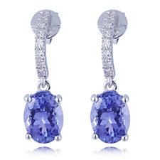 2.6ct AAA Tanzanite & Diamond Oval Earrings 18ct Gold