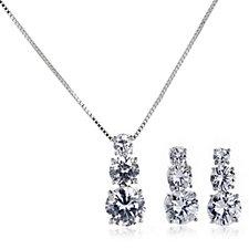 Frank Usher Crystal Drop Earrings & 42cm Necklace Set