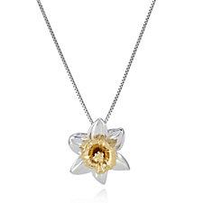 311998 - Azendi Birthday Flowers Daffodil 45cm Necklace Sterling Silver