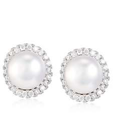 Diamonique 0.4ct tw Cultured 7mm Pearl Halo Studs Sterling Silver