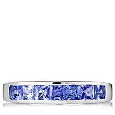 1ct AAA Tanzanite Princess Cut Half Eternity Ring 18ct Gold