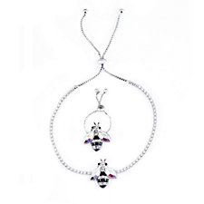 Butler & Wilson Crystal Bee Ring & Bracelet Set