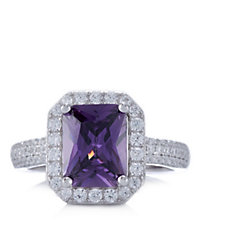 Diamonique 7.3ct tw Simulated Amethyst Cocktail Ring Sterling Silver