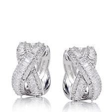 Diamonique by Tova 3ct tw Baguette Cut Earrings Sterling Silver