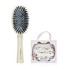 401024 - Vintage Cosmetics Paddle Brush With 2x Barette Floral Clips