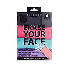 Danielle Creations Erase Your Face Set of 4 Facial Cleansing Cloths