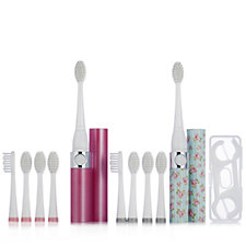 iActive Set of 2 Sonic Toothbrushes with 10 Heads & Dental Flossers